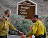 A U.S. Forest Service Fire Crew establishing traffic control at Blodgett Peak Open Space.