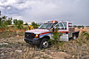 Cimarron Hills Fire Department's Brush 1340 on the scene of a wildland fire threatening to move into a nearby neighborhood off of Western Drive, just East of Colorado Springs, Colorado, USA. A storm with high winds is creating extra challenges in controlling the fire.  See this location on Google Maps at: http://goo.gl/maps/5yiO